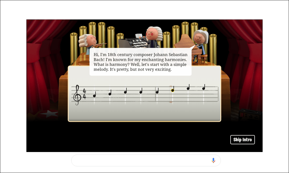 intro to Bach Google Doodle, explaining simple harmony with 8 piano notes.
