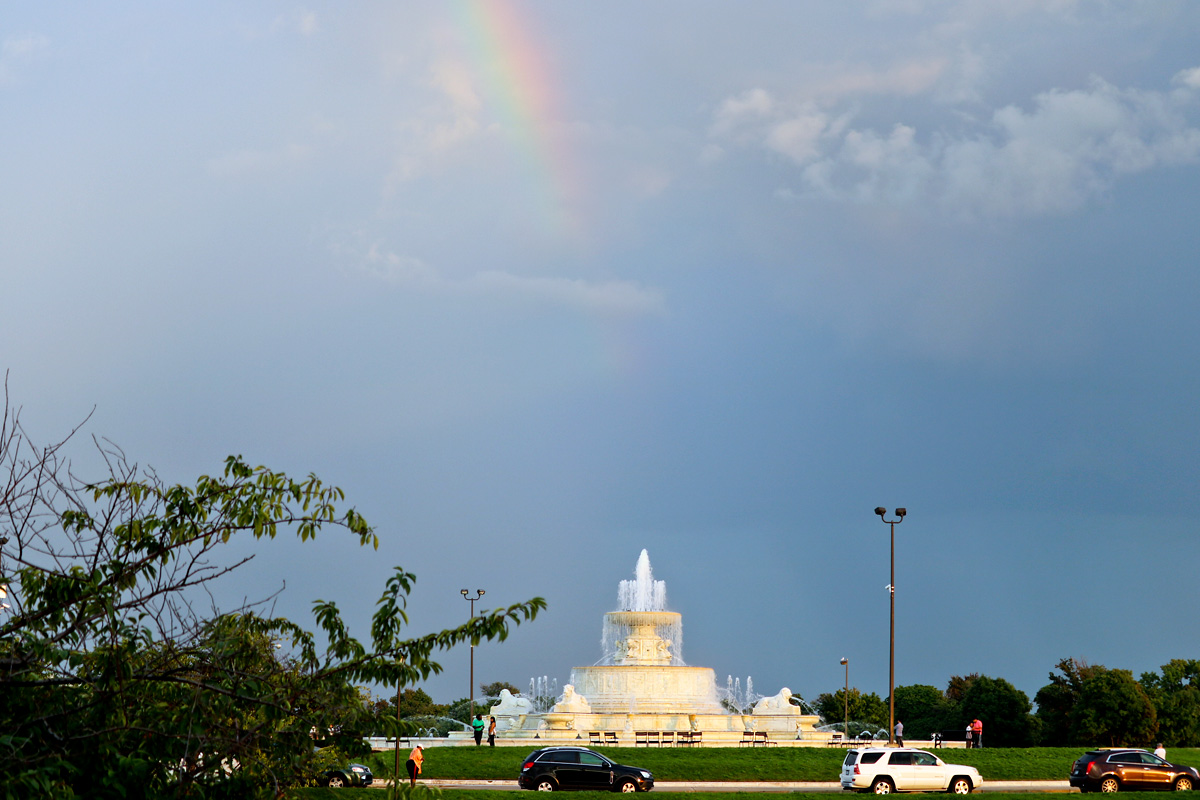 Rainbow shines over James Scott Memorial Fountain