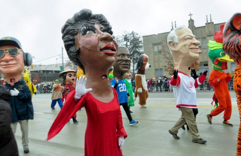 Big Heads, papier-mâché heads of singer Aretha Franklin and Detroit hockey player Gordie Howe