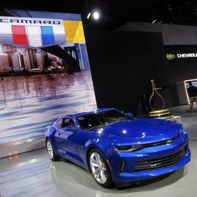 Blue two-door Chevrolet Camaro