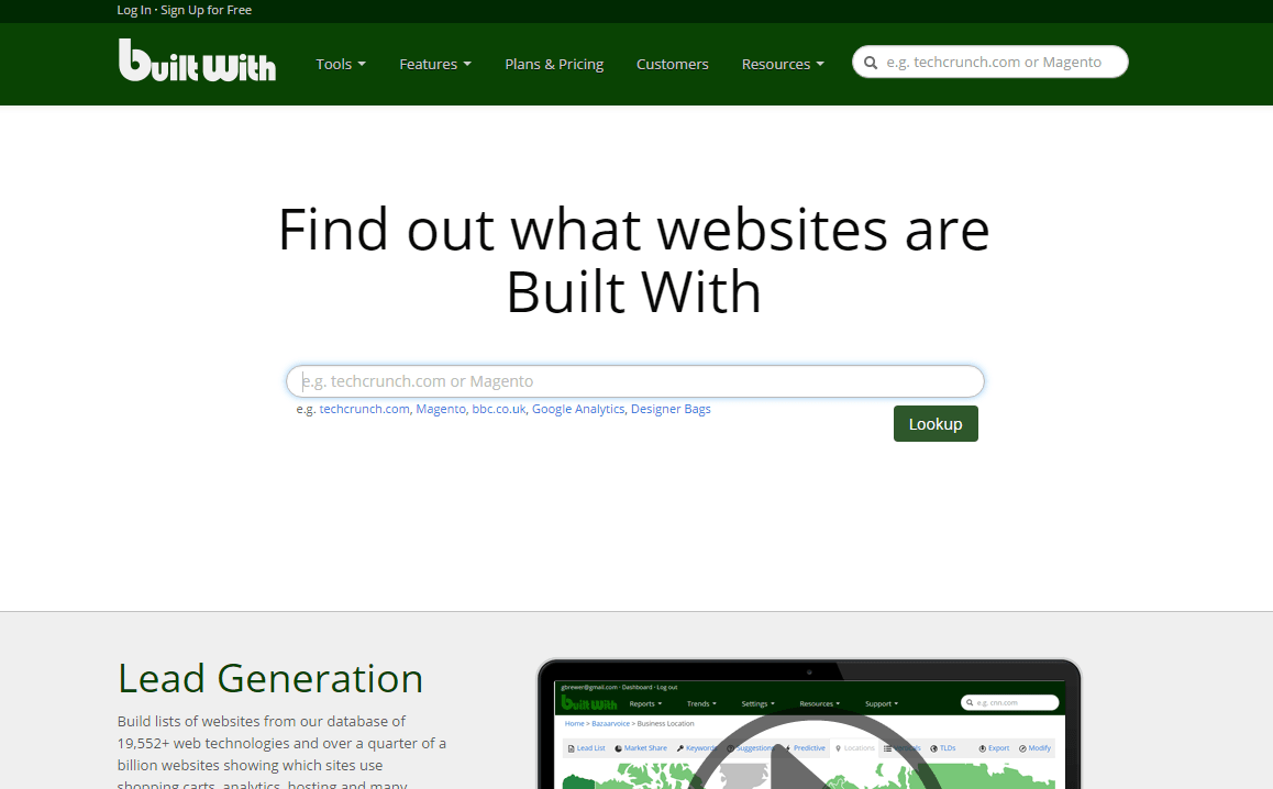 Find out what websites are Built With