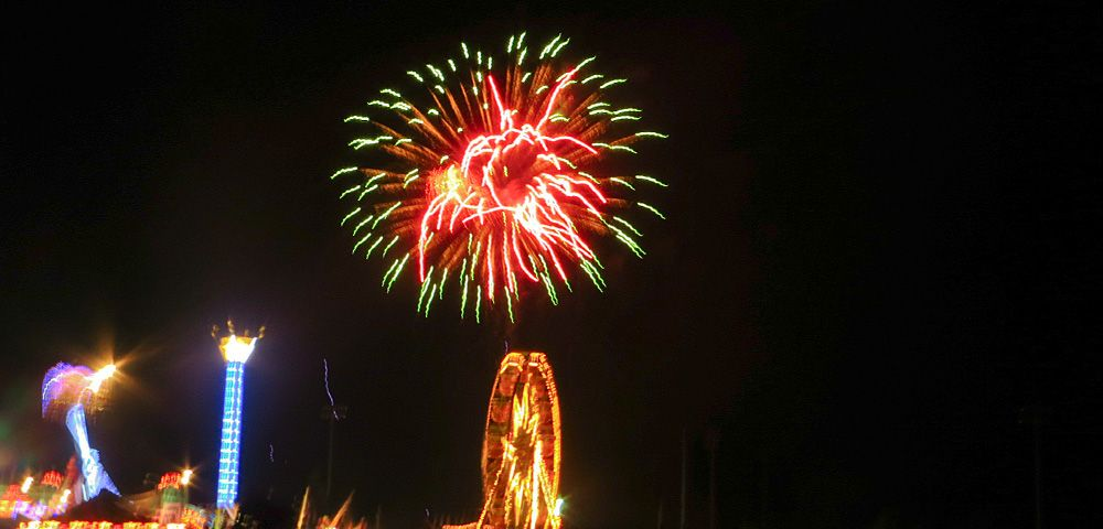 Canton Liberty Fest 2014 Fireworks with amusement rides