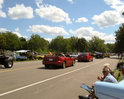 Car fans watch the cars cruising down Edward Hines Drive