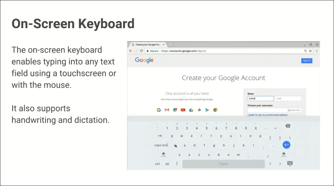 Chrome onscreen keyboard layout