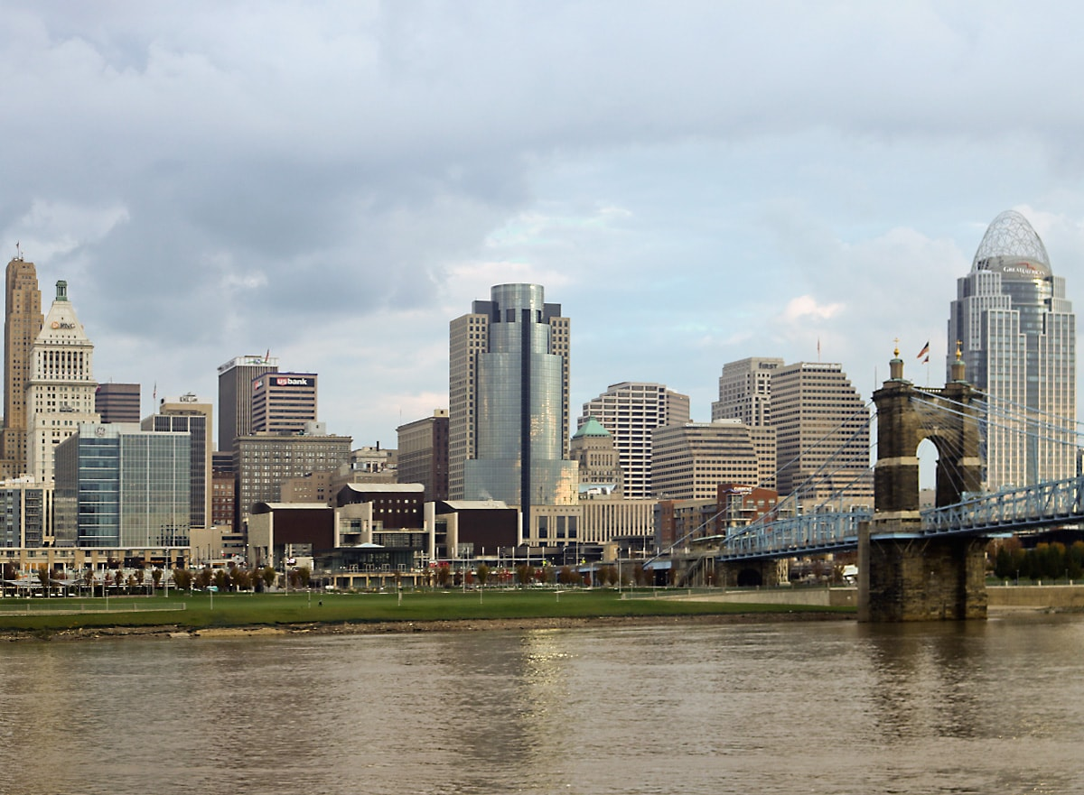 downtown skyscrapers rise behind Smale Riverfront Park in downtown Cincinnati