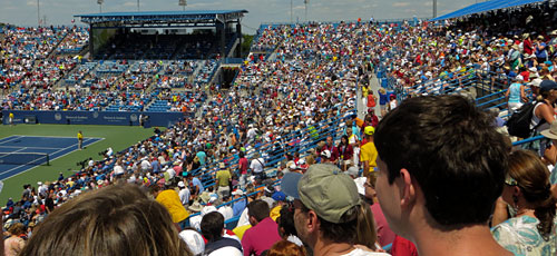 Crowd watching quarterfinals at Western & Southern Open, Cincinnati Ohio