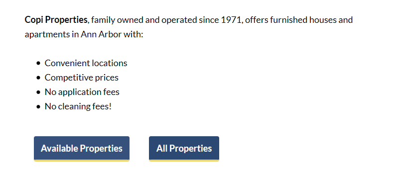 home page property listing search buttons