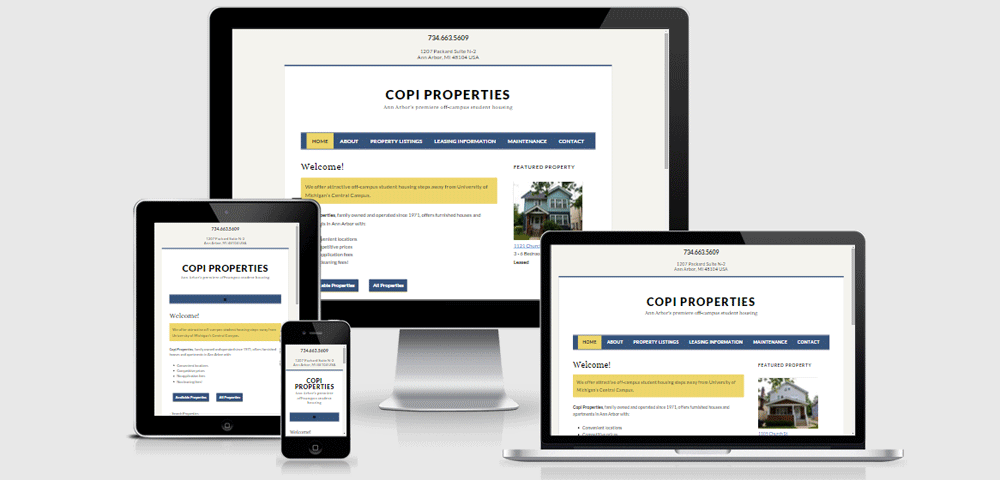 Copi Properties website as displayed on desktop, laptop, smartphone, and tablet