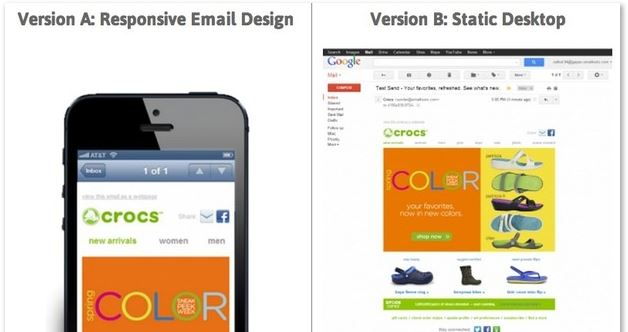Responsive email layout vs desktop version layout of email newsletter