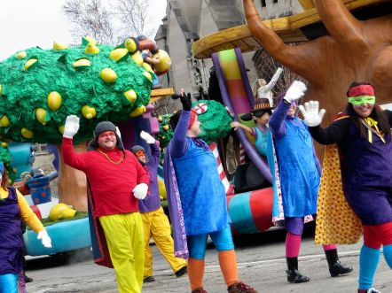 festive walkers at Detroit's Thanksgiving Day Parade