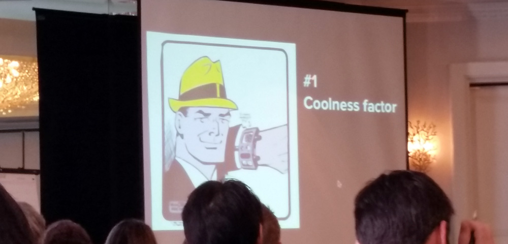 Presentation slide of Dick Tracy with text #1 Coolness Factor