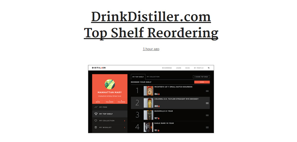 Drink Distiller.com Top Shelf reordering list