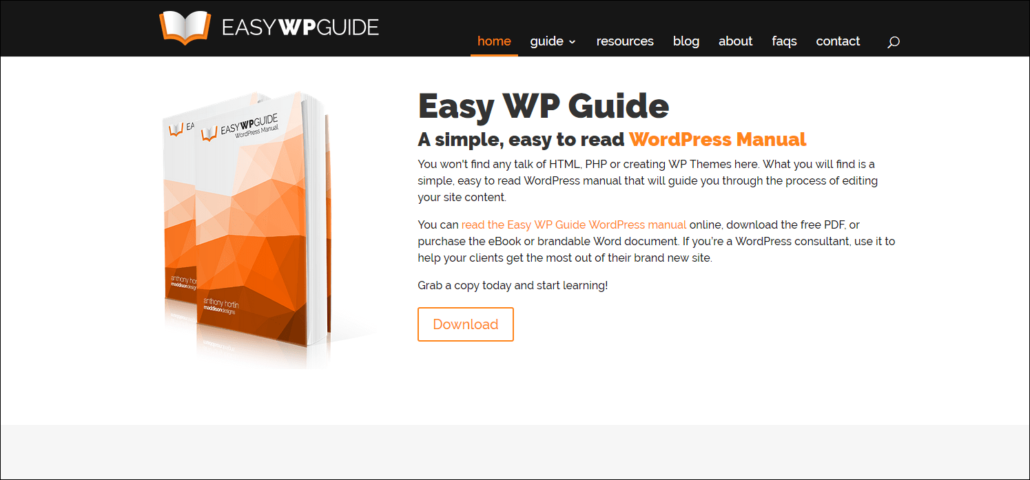 Easy WP Guide, an simple easy to read WordPress manual
