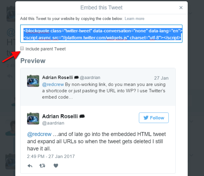 Code highlighted in native Twitter embed tweet code option to add tweet to your website. Arrow points to option to include/exclude parent tweet