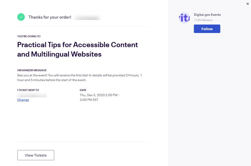 confirmation message notification for Practical Tips for Digital.gov Accessible Content and Multilingual Websites presentation.