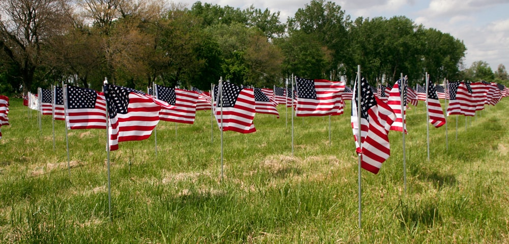 Rows of United States flags waving in the breeze at River Raisin National Battlefield Park
