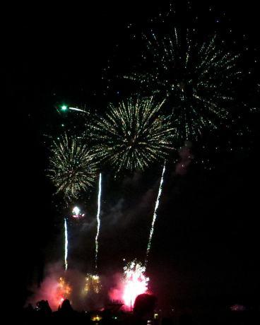 Sunburst fireworks in the night sky