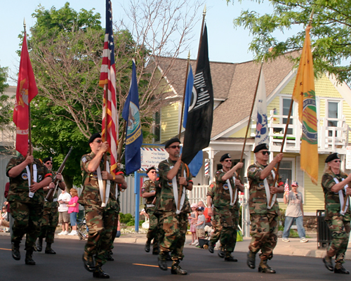 Flag bearers lead the 2011 Plymouth Memorial Day Parade