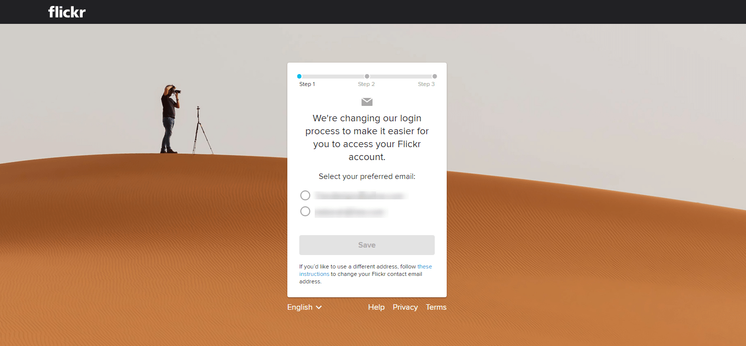 Change account modal allows you to select which account to use for Flickr login.