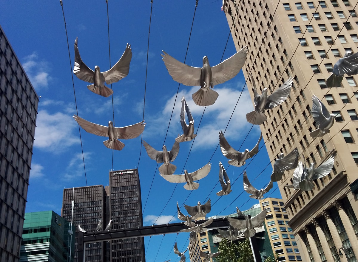 chrome-colored pigeons hang from wires about ten feet above sidewalk as part of an art installation, skyscrapers and blue sky with white clouds in the background