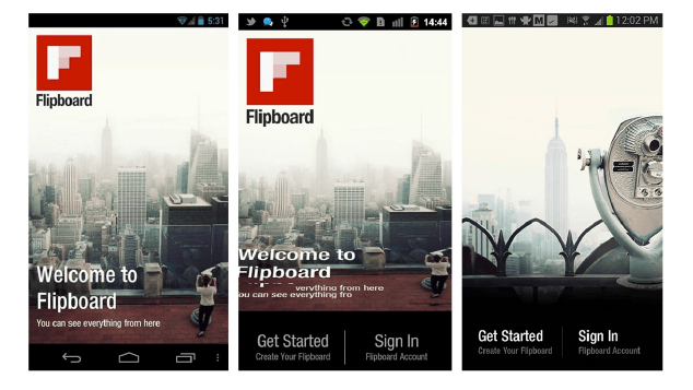 Flipboard tutorial showing flip open feature