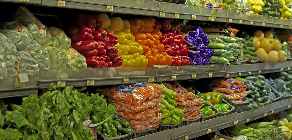 Fresh vegetables aisle at the grocery store