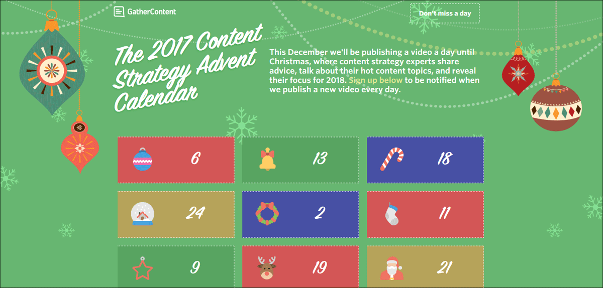 Gather Content 2017 Advent Calendar.
