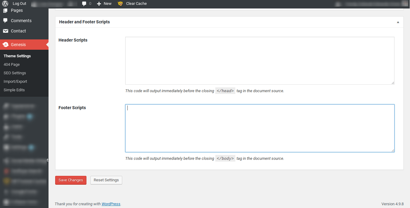 Genesis framework Theme Options displaying header and footer text boxes.