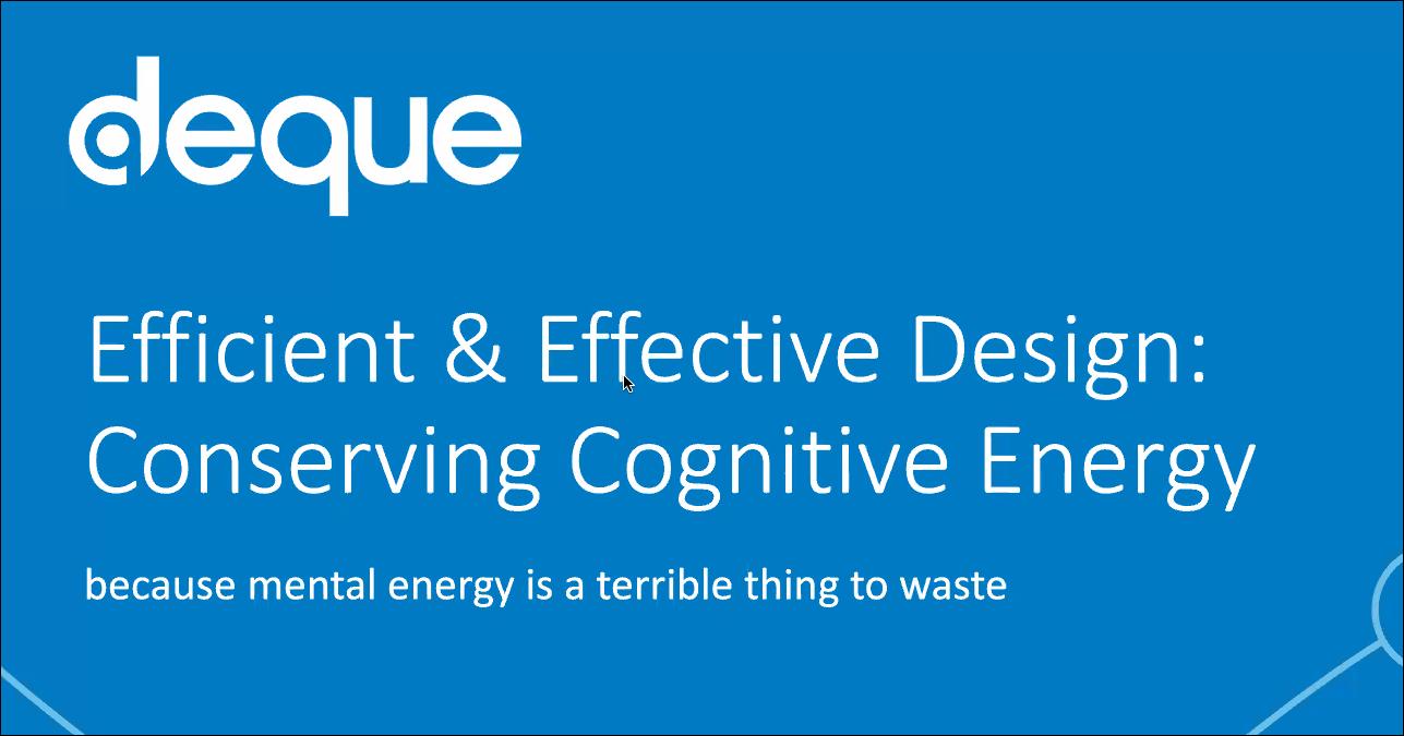 Efficient & Effective Design: Conserving Cognitive Energy