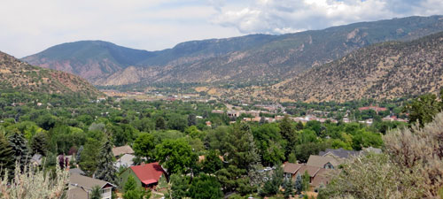 Looking down on Glenwood Springs Colorado from cemetary hill