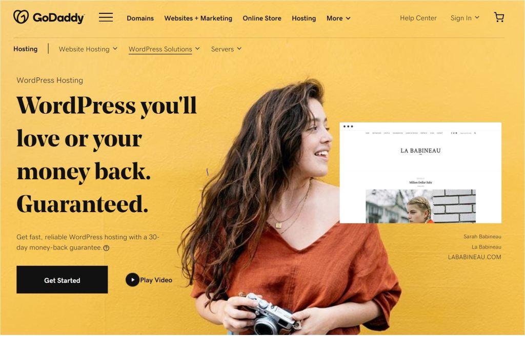 GoDaddy WordPress hosting main page.