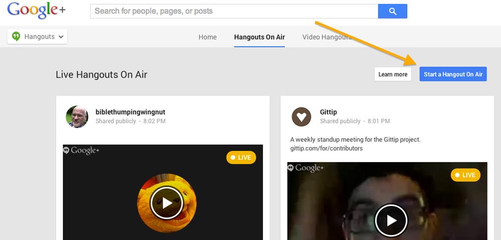 Start a Google Hangout