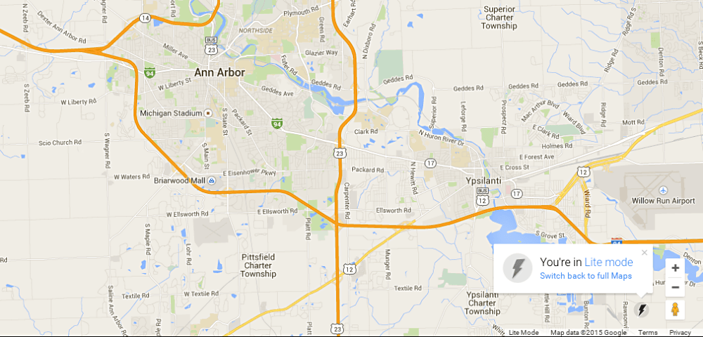 Google Lite map of Ann Arbor Michigan