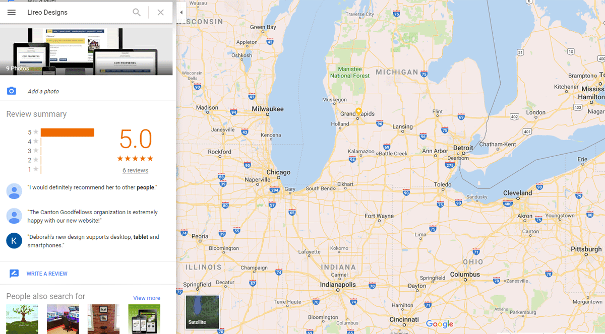 Google review for Lireo Designs with map of midwest and business listing with reviews.