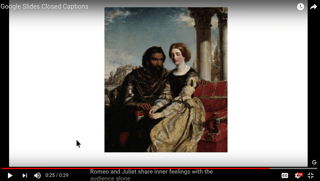 closed captions display at bottom of slide of Romeo and Juliet seated on bench
