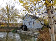 Loranger Gristmill powered by a water wheel. Built around 1830 in Monroe, Michigan.