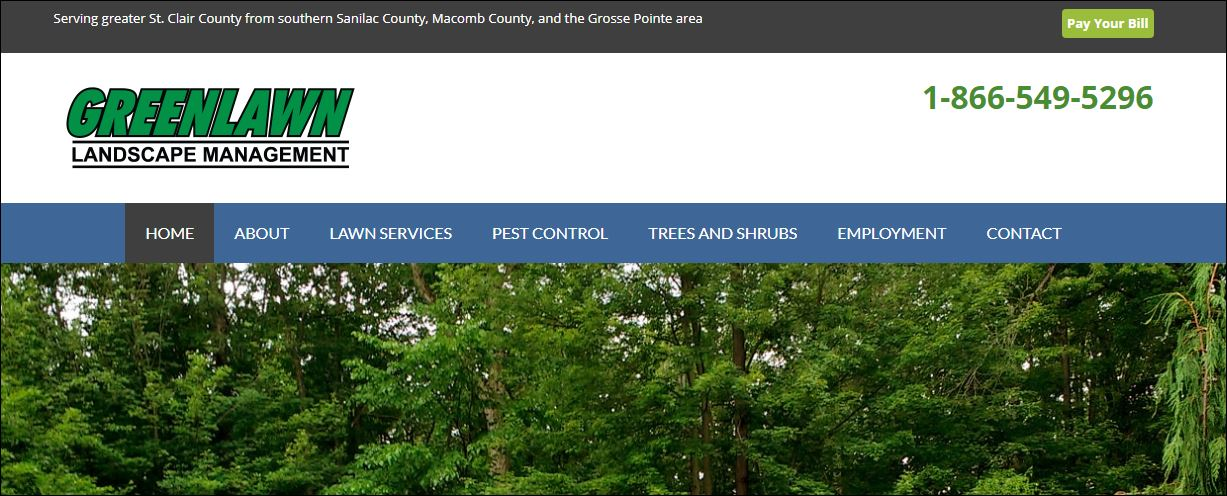 banner at top of page displays geographic area and pay your bill button.