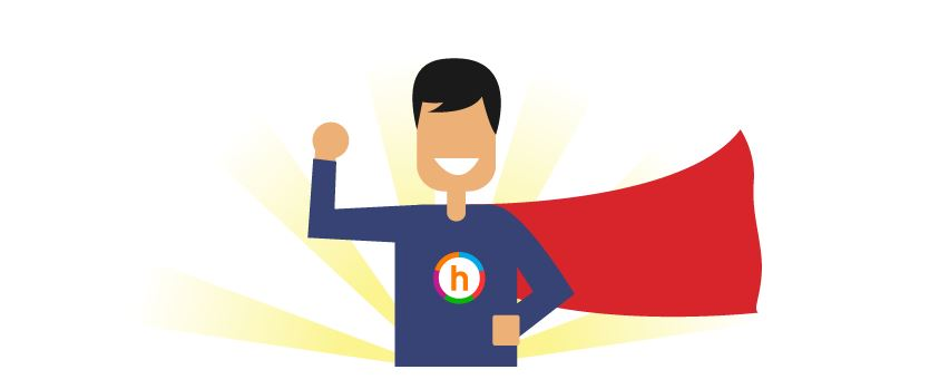 Happify cartoon man in blue suit with red cape