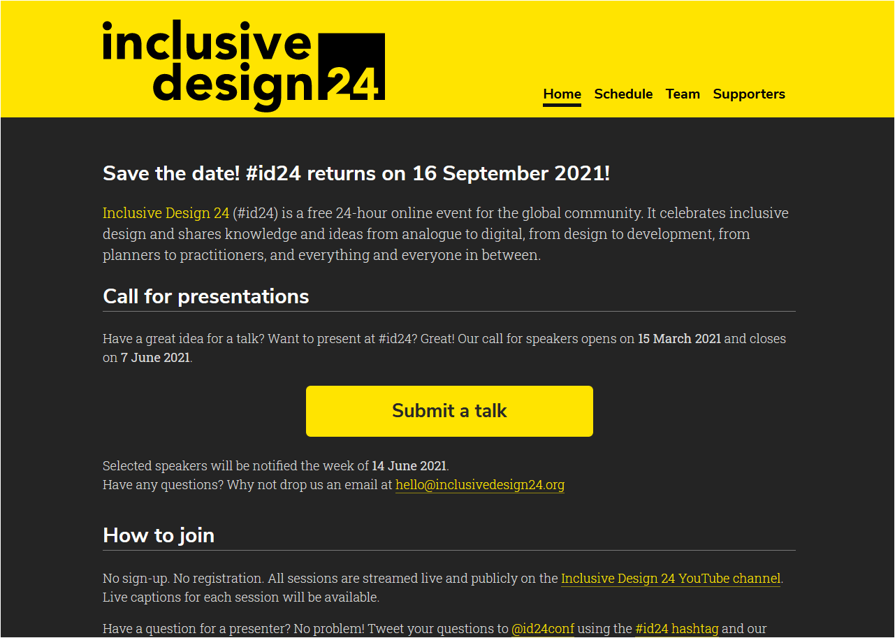 Inclusive Design 24 2021 home page with save the date and call for presentations callouts.