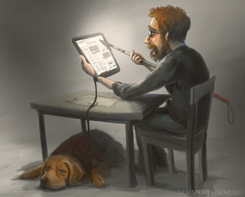 Image of blind man reading on the web