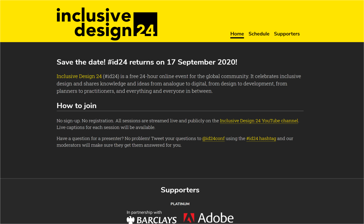 Inclusive Design 24 conference home page