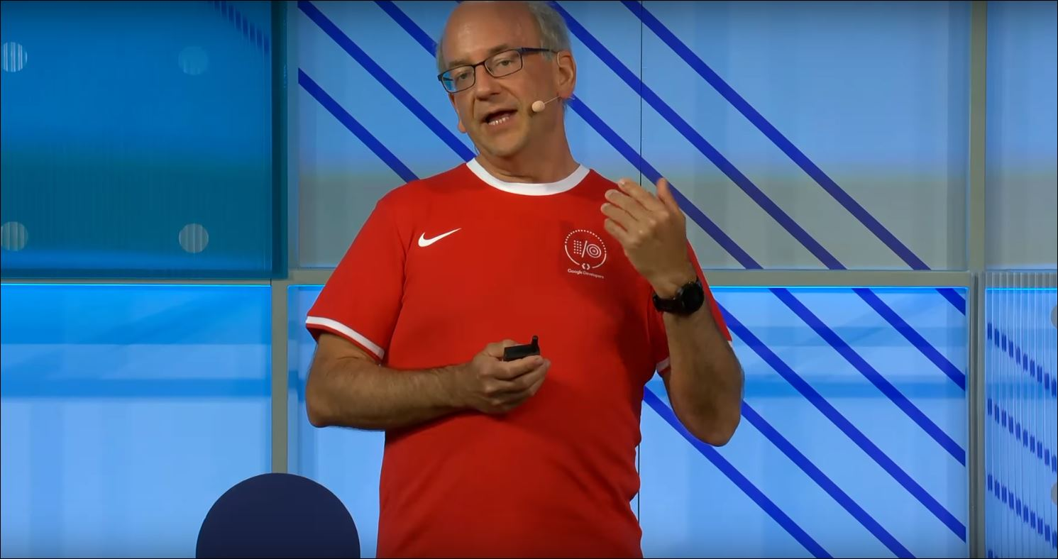John Mueller on stage at Google I/O
