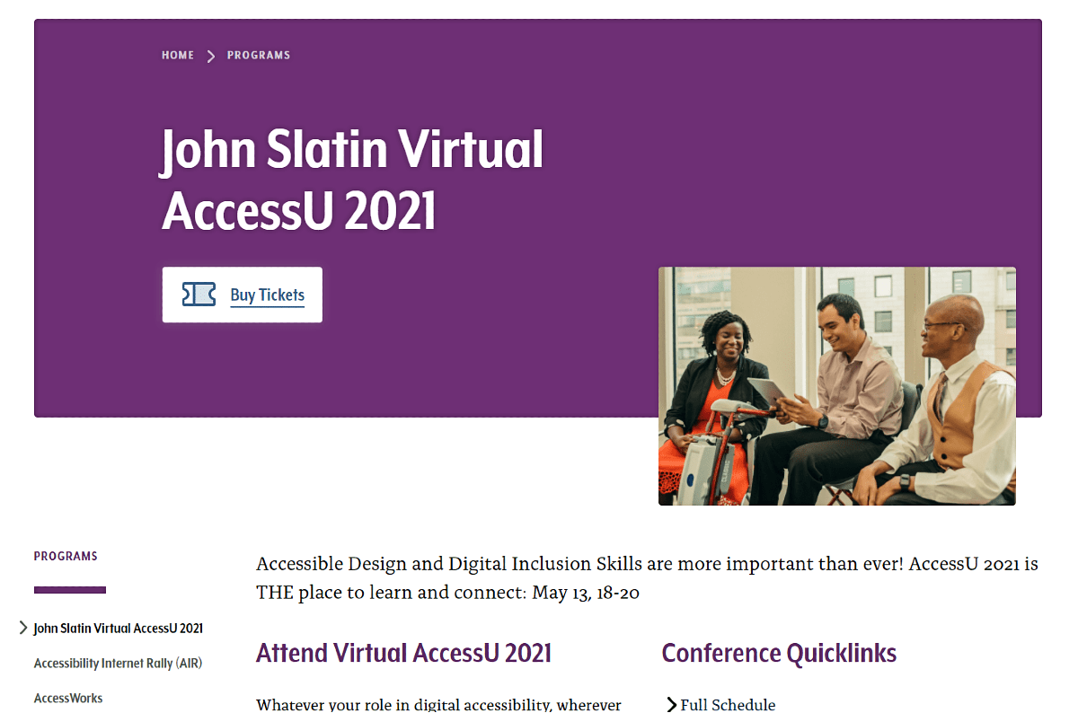 John Slatin Virtual AccessU 2021 conference home page.