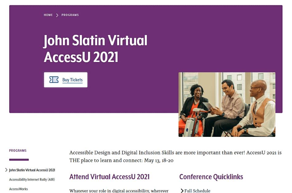 John Slatin Virtual AccessU 2021 conference home page.