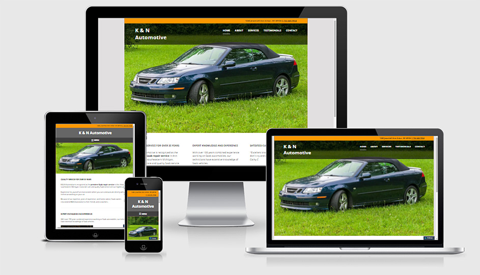 K & N Automotive site as seen on desktop, smartphone, tablet, and small laptop