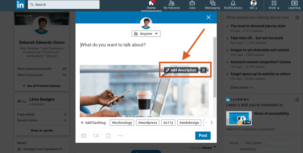 LinkedIn post with image displaying the add description link.
