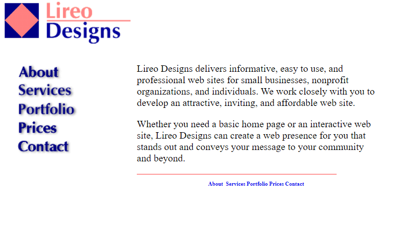 Lireo Designs home page in 2001 with a five-item sidebar menu and two simple paragraphs of text explaining web design services are offered.