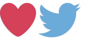 Red heart next to a blue Twitter bird logo