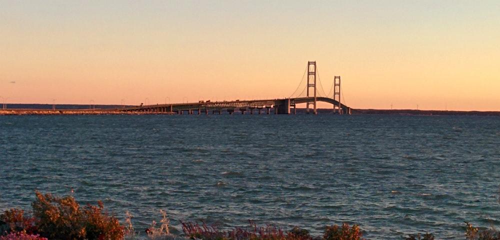 Mackinac Bridge at dusk, view from St. Ignace, Michigan
