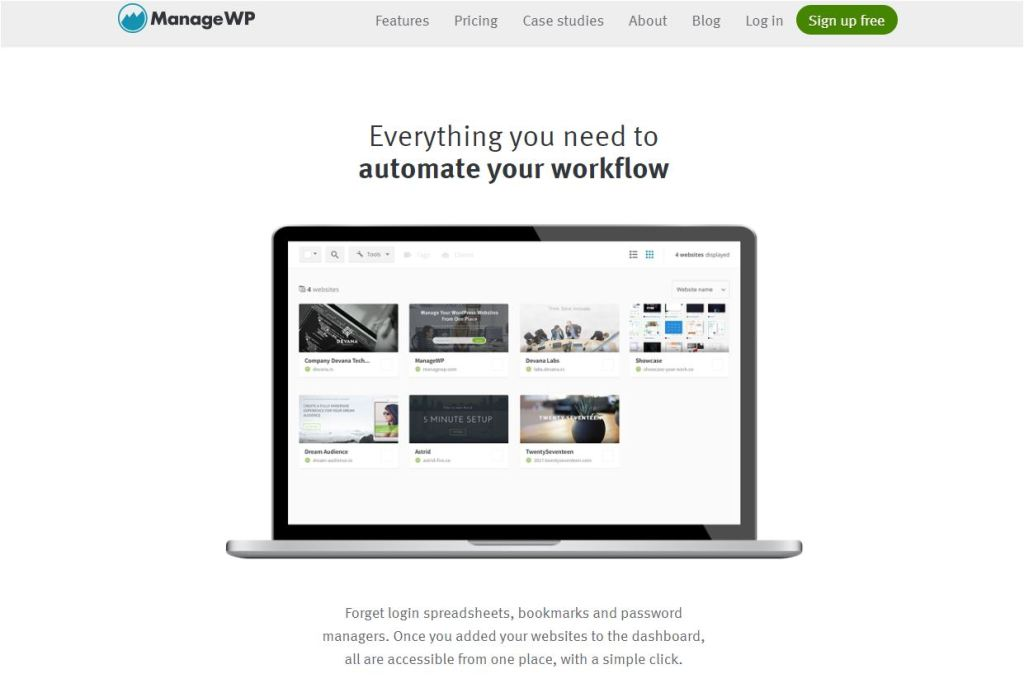 ManageWP home page.